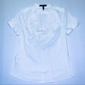BCBGMAXAZARIA white blouse pleated top collared